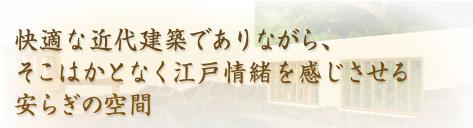 快適な近代建築でありながら、そこはかとなく江戸情緒を感じさせる安らぎの空間